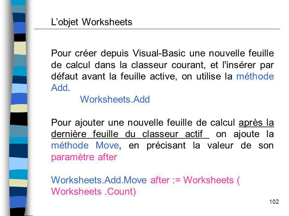 L'objet Worksheets
