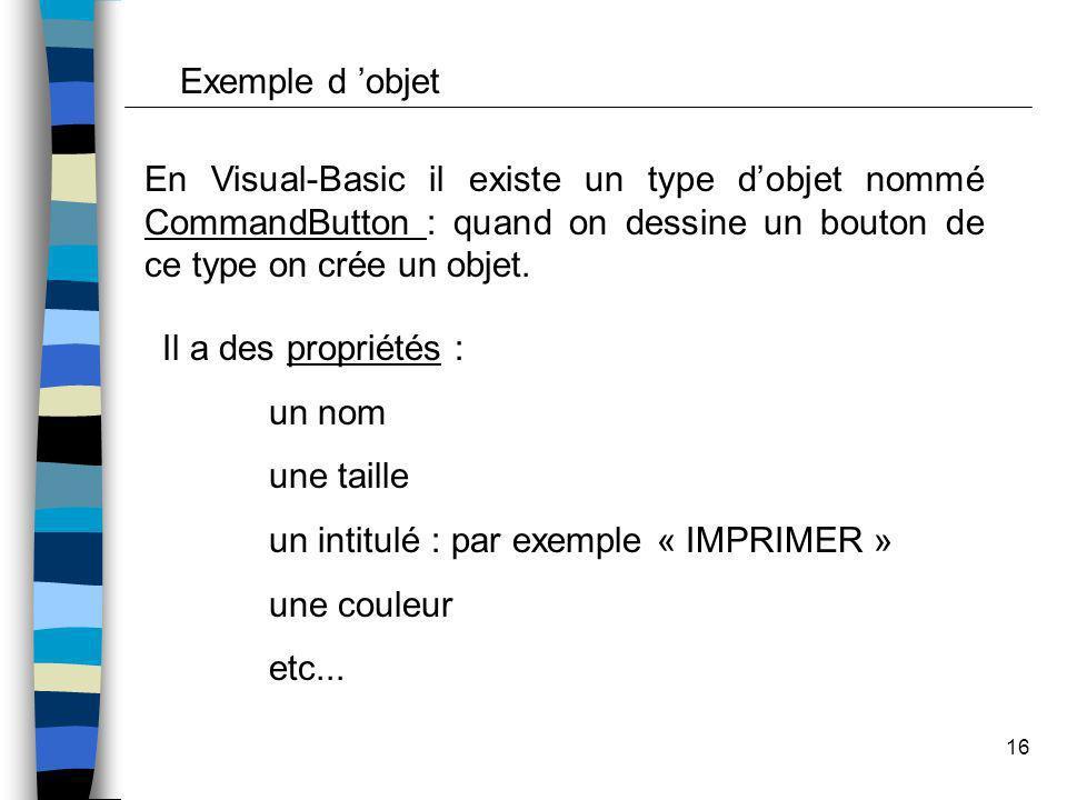 Exemple d 'objet En Visual-Basic il existe un type d'objet nommé CommandButton : quand on dessine un bouton de ce type on crée un objet.