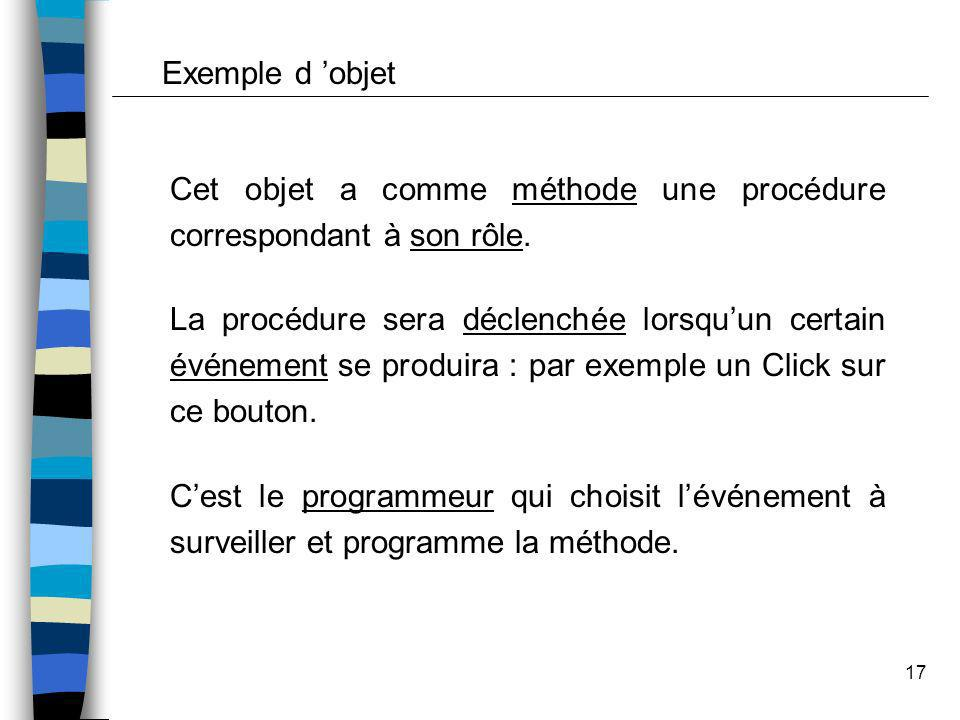 Exemple d 'objet Cet objet a comme méthode une procédure correspondant à son rôle.