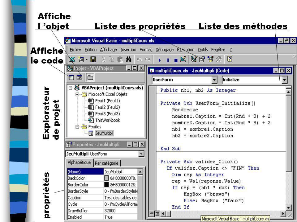 Affiche l 'objet Liste des propriétés. Liste des méthodes. Affiche le code. Explorateur de projet.