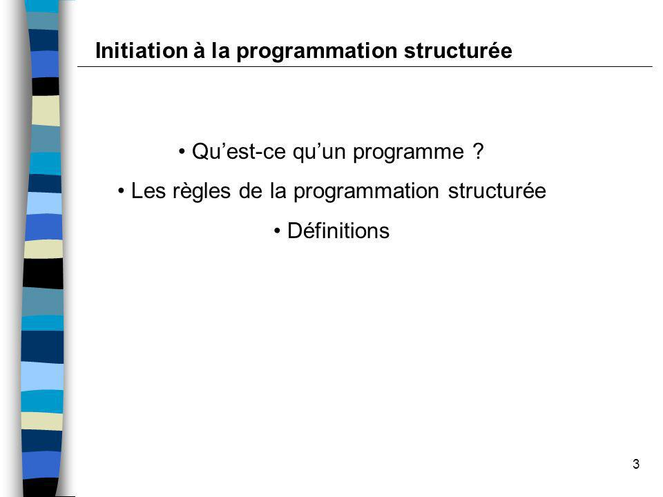 Initiation à la programmation structurée