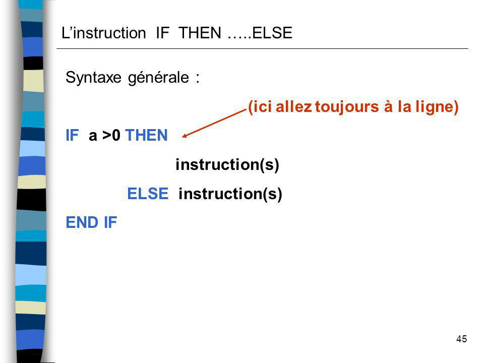 L'instruction IF THEN …..ELSE