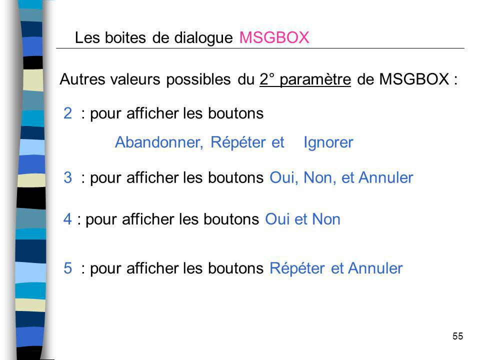 Les boites de dialogue MSGBOX