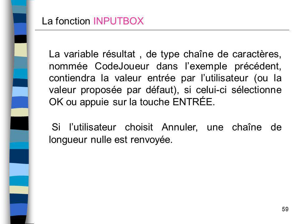 La fonction INPUTBOX