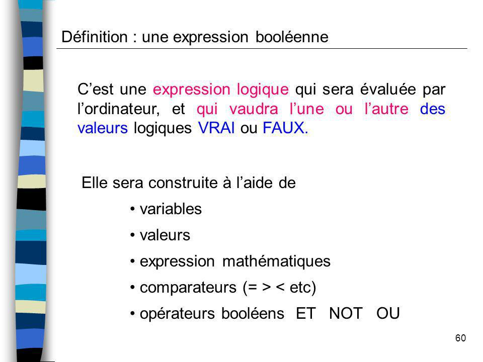 Définition : une expression booléenne