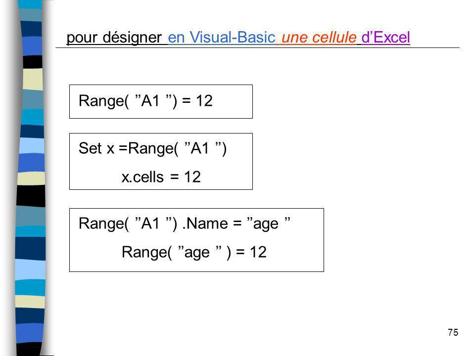 pour désigner en Visual-Basic une cellule d'Excel