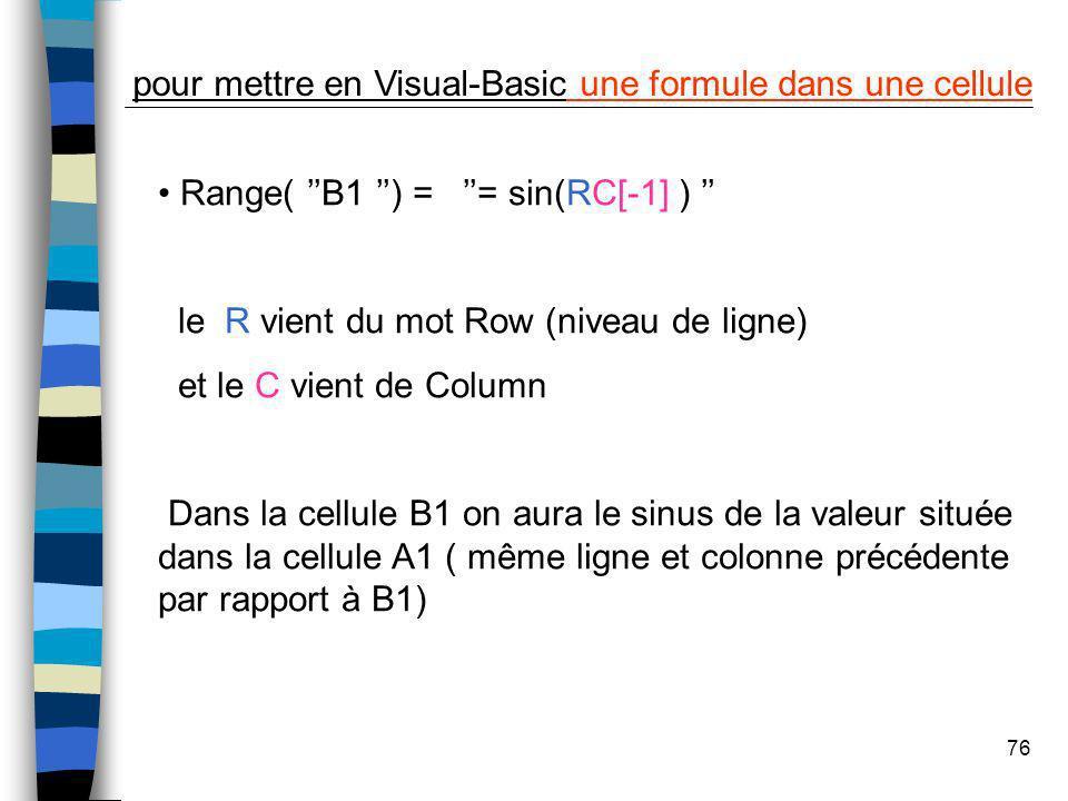 pour mettre en Visual-Basic une formule dans une cellule