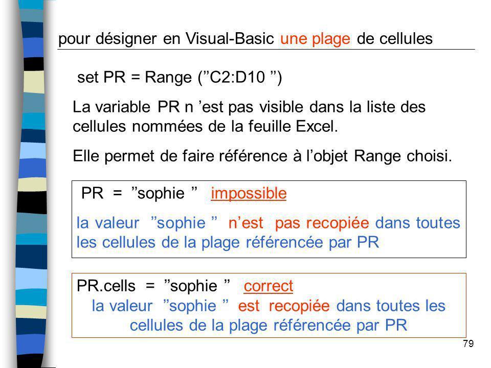 pour désigner en Visual-Basic une plage de cellules
