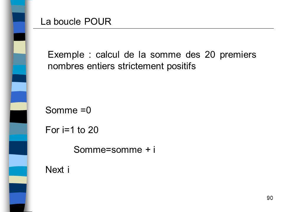 La boucle POUR Exemple : calcul de la somme des 20 premiers nombres entiers strictement positifs. Somme =0.