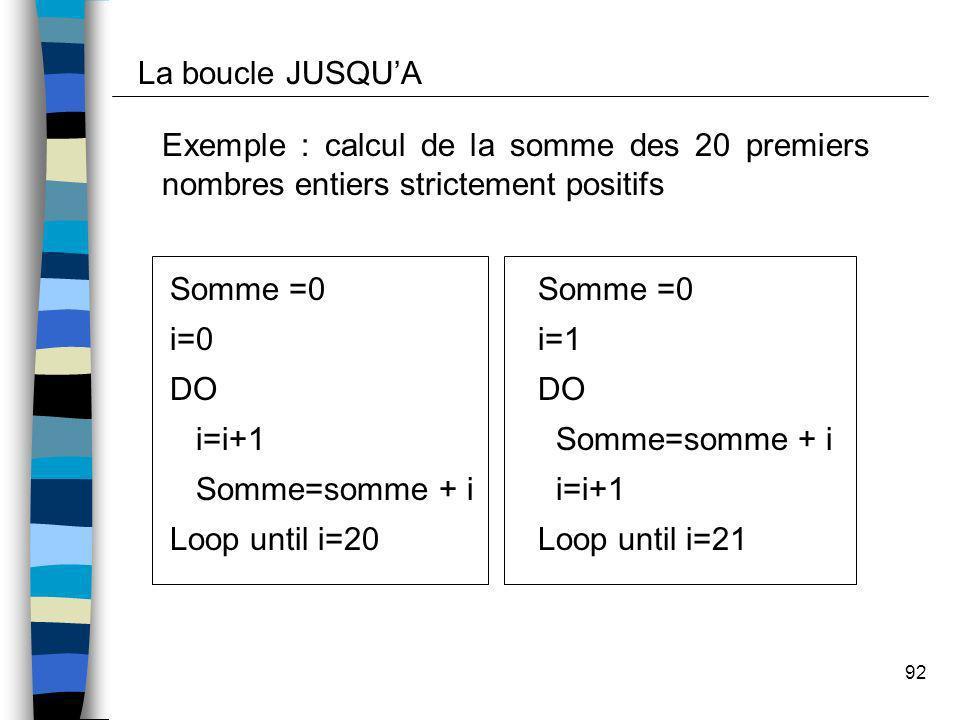 La boucle JUSQU'A Exemple : calcul de la somme des 20 premiers nombres entiers strictement positifs.