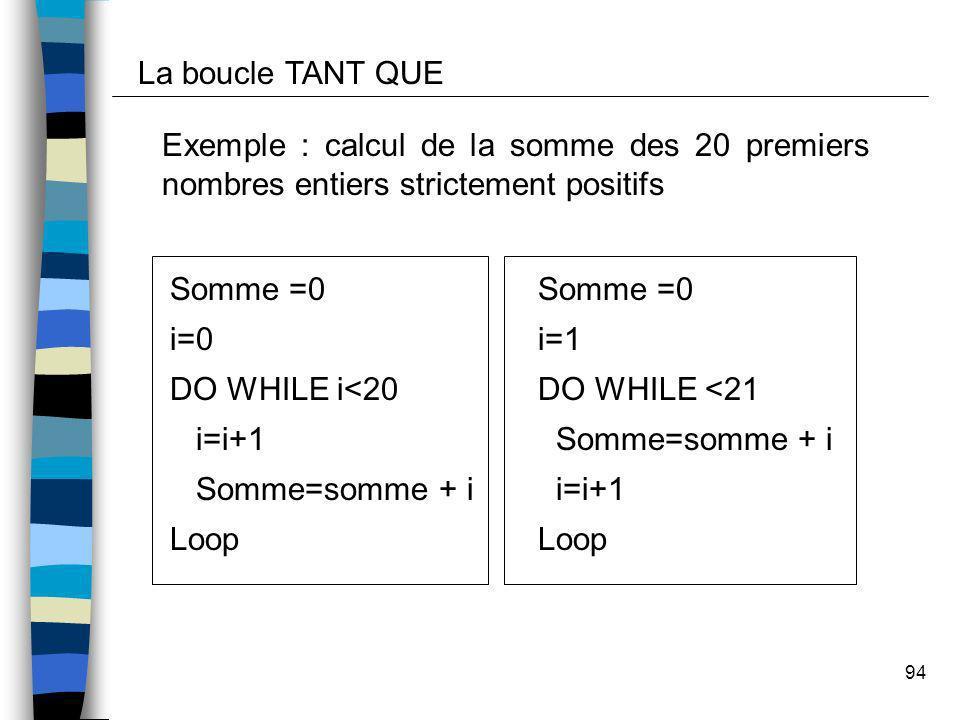 La boucle TANT QUE Exemple : calcul de la somme des 20 premiers nombres entiers strictement positifs.