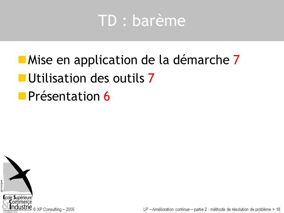 TD : barème Mise en application de la démarche 7