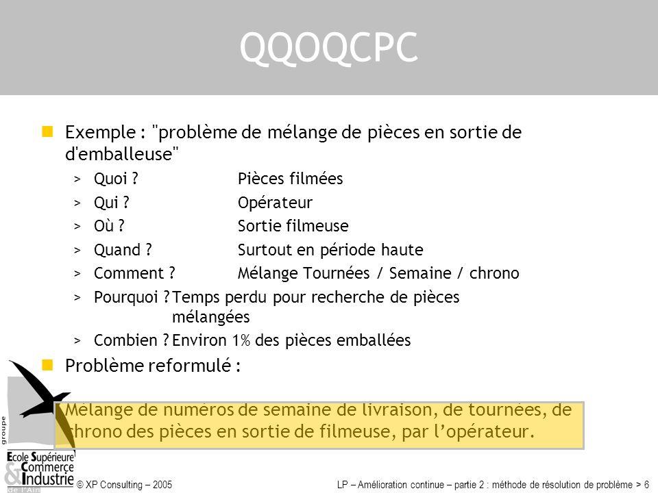QQOQCPC Exemple : problème de mélange de pièces en sortie de d emballeuse Quoi Pièces filmées.