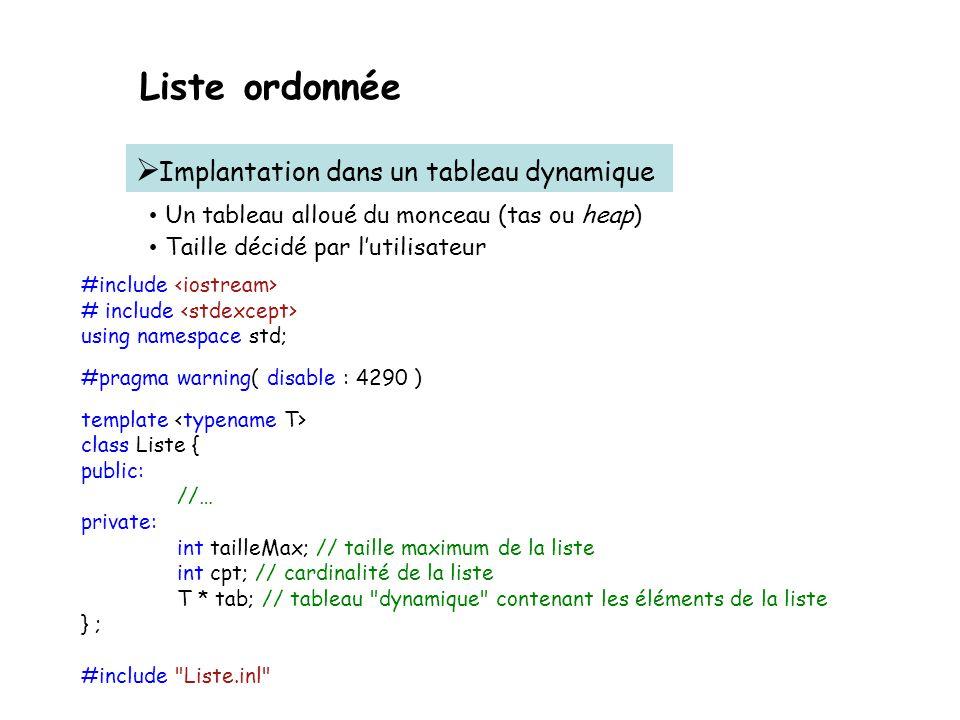 Liste ordonnée Implantation dans un tableau dynamique