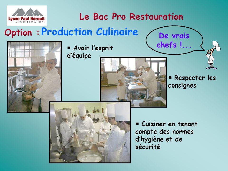 Le Bac Pro Restauration