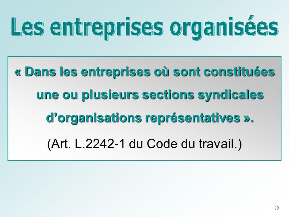 Les entreprises organisées