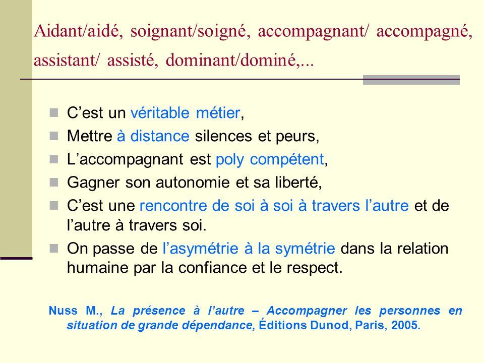 Aidant/aidé, soignant/soigné, accompagnant/ accompagné, assistant/ assisté, dominant/dominé,...