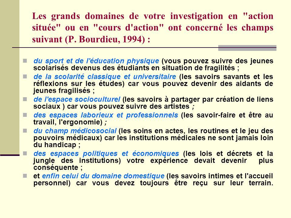 Les grands domaines de votre investigation en action située ou en cours d action ont concerné les champs suivant (P. Bourdieu, 1994) :