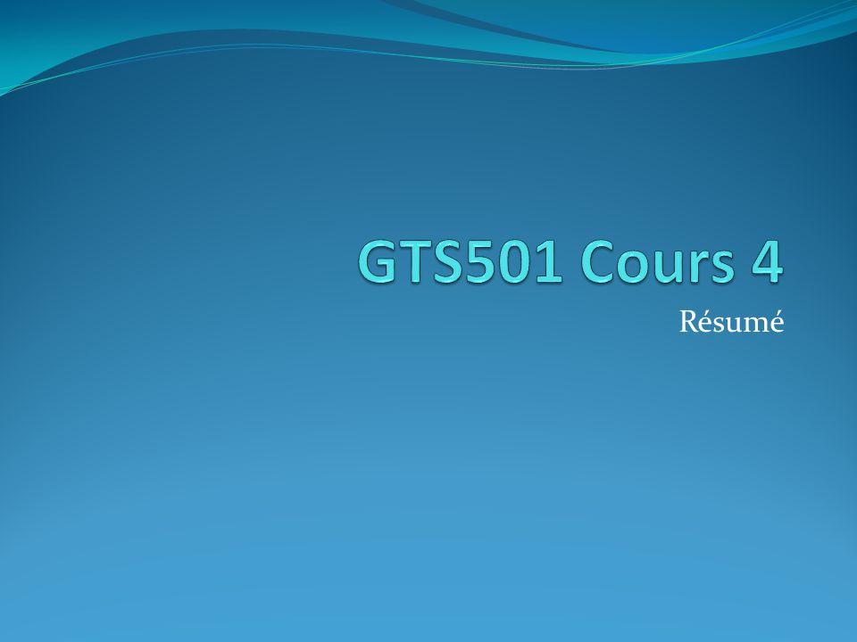 GTS501 Cours 4 Résumé