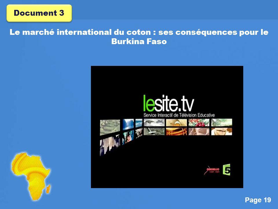 Document 3 Le marché international du coton : ses conséquences pour le Burkina Faso