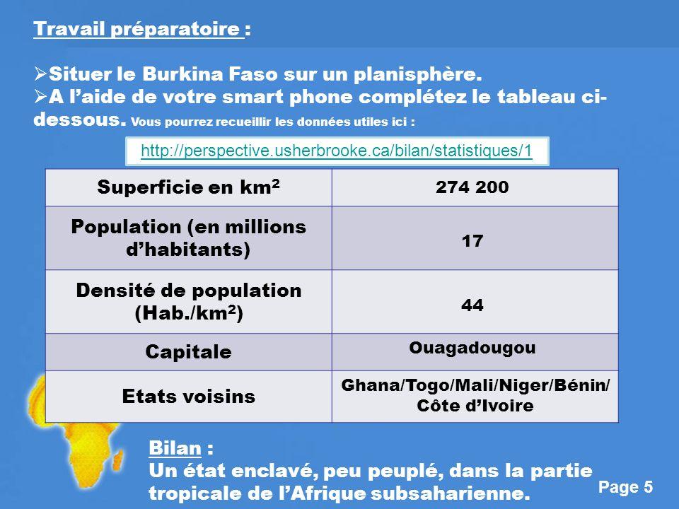 Travail préparatoire : Situer le Burkina Faso sur un planisphère.
