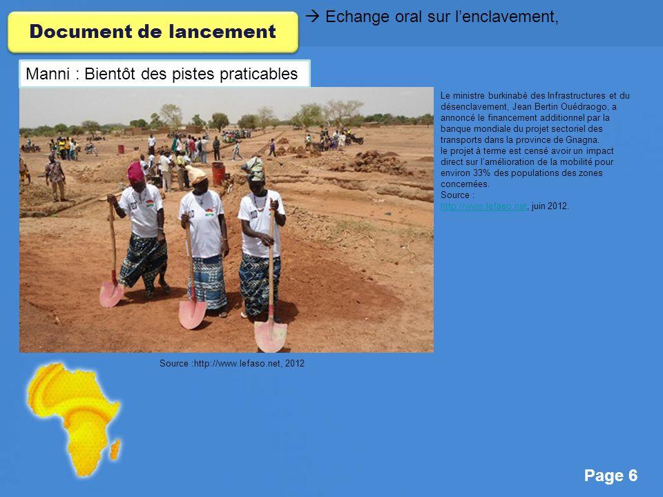 Document de lancement  Echange oral sur l'enclavement,