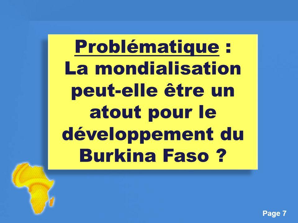 Problématique : La mondialisation peut-elle être un atout pour le développement du Burkina Faso