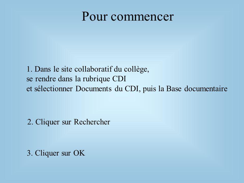 Pour commencer 1. Dans le site collaboratif du collège, se rendre dans la rubrique CDI et sélectionner Documents du CDI, puis la Base documentaire.