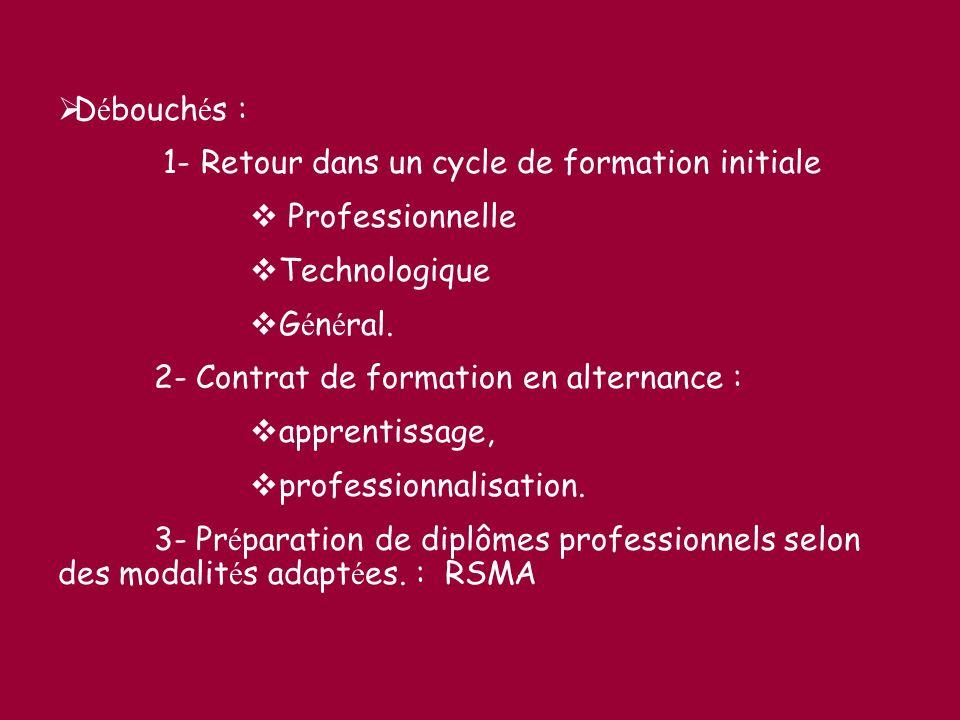 Débouchés : 1- Retour dans un cycle de formation initiale. Professionnelle. Technologique. Général.