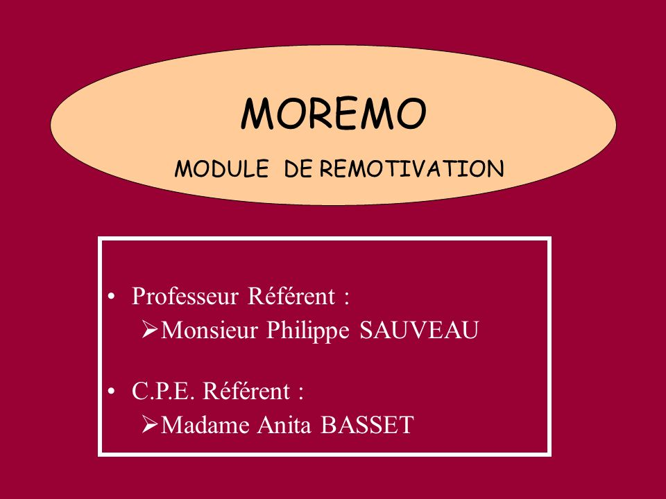 MOREMO MODULE DE REMOTIVATION