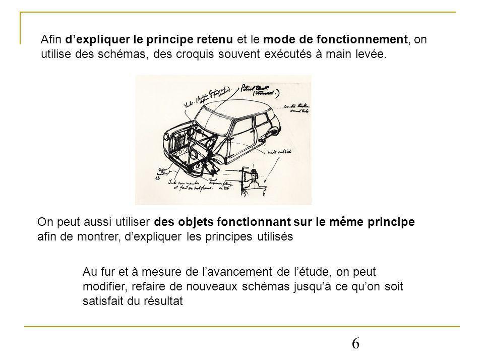 Afin d'expliquer le principe retenu et le mode de fonctionnement, on utilise des schémas, des croquis souvent exécutés à main levée.