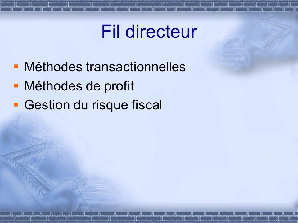 Fil directeur Méthodes transactionnelles Méthodes de profit
