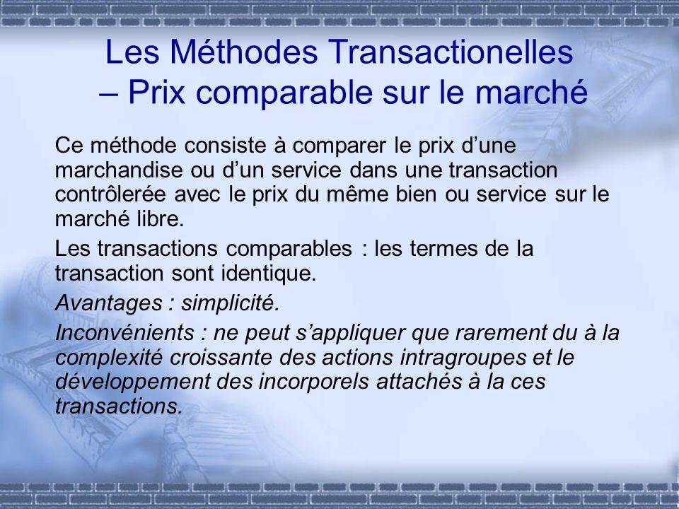 Les Méthodes Transactionelles – Prix comparable sur le marché