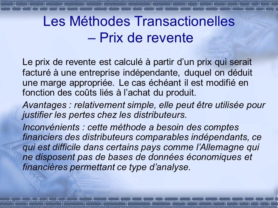 Les Méthodes Transactionelles – Prix de revente