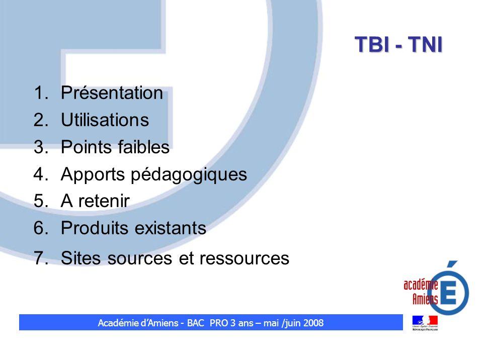 Académie d'Amiens - BAC PRO 3 ans – mai /juin 2008