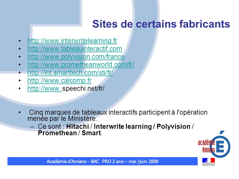 Sites de certains fabricants