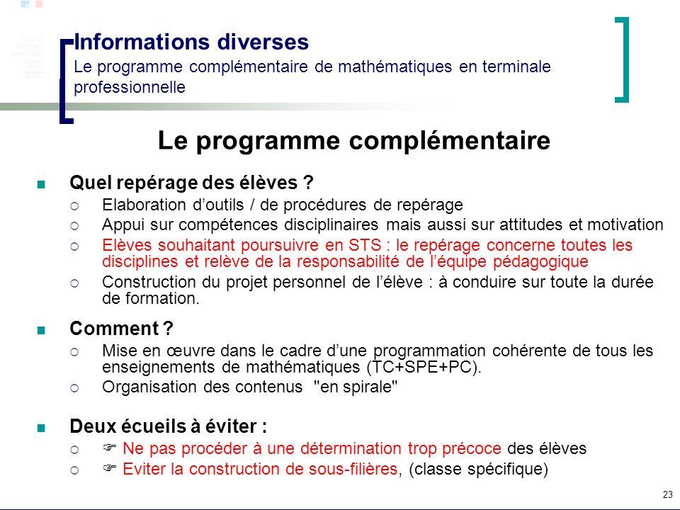 Le programme complémentaire