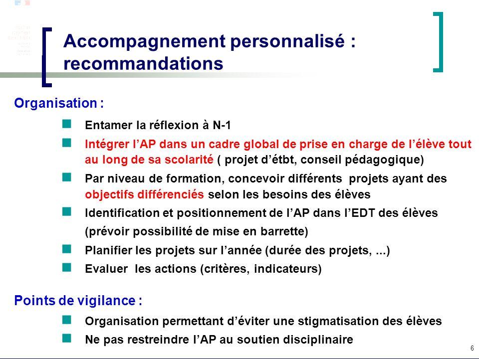 Accompagnement personnalisé : recommandations