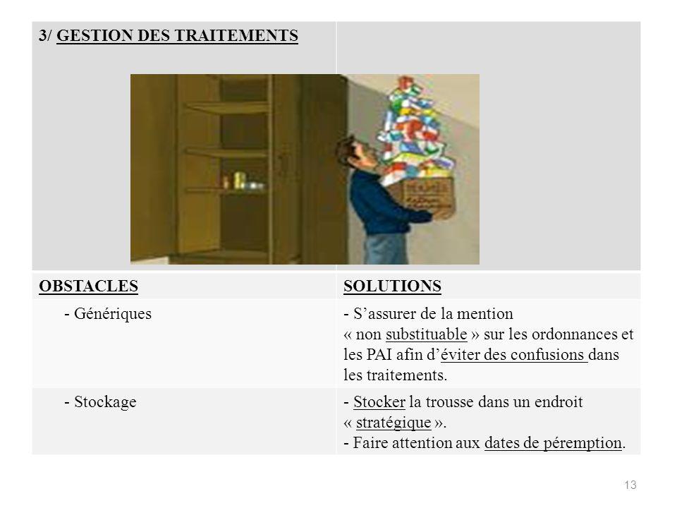 3/ GESTION DES TRAITEMENTS