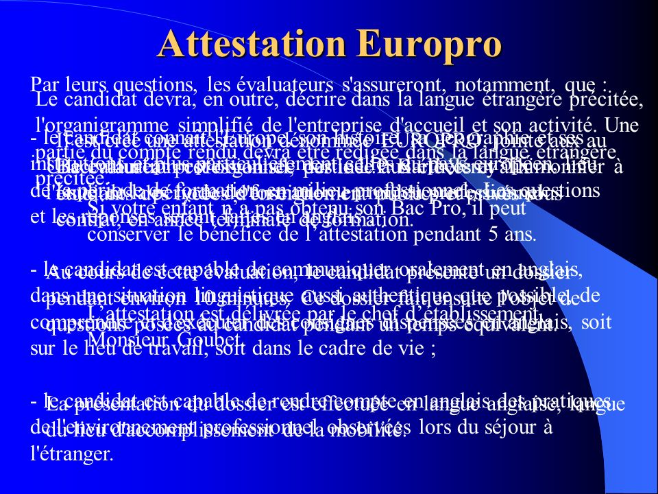 Attestation Europro