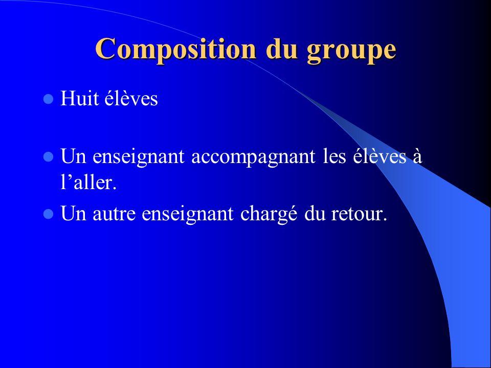 Composition du groupe Huit élèves