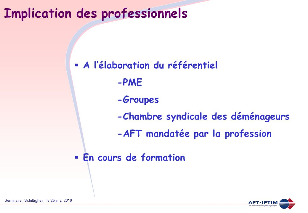 Implication des professionnels