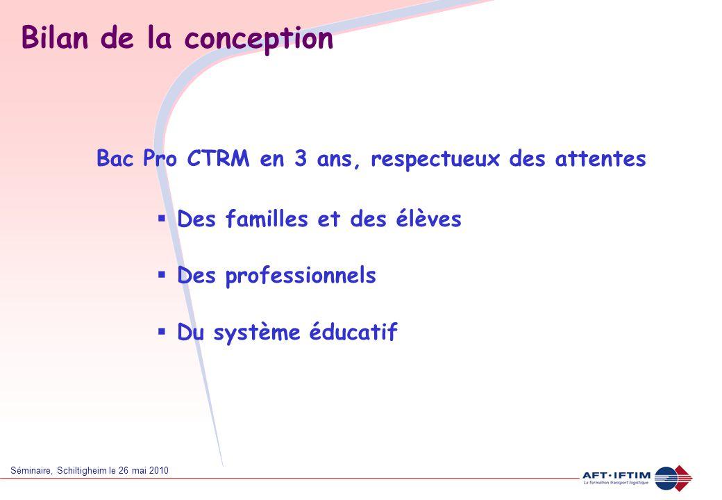 Bilan de la conception Bac Pro CTRM en 3 ans, respectueux des attentes