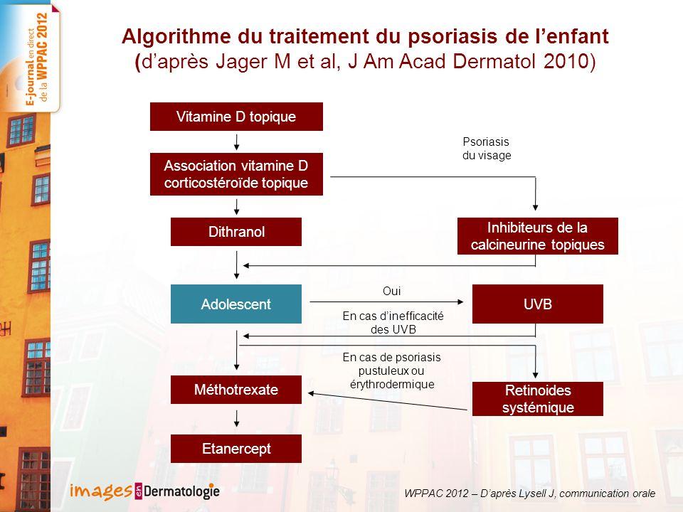 Algorithme du traitement du psoriasis de l'enfant (d'après Jager M et al, J Am Acad Dermatol 2010)