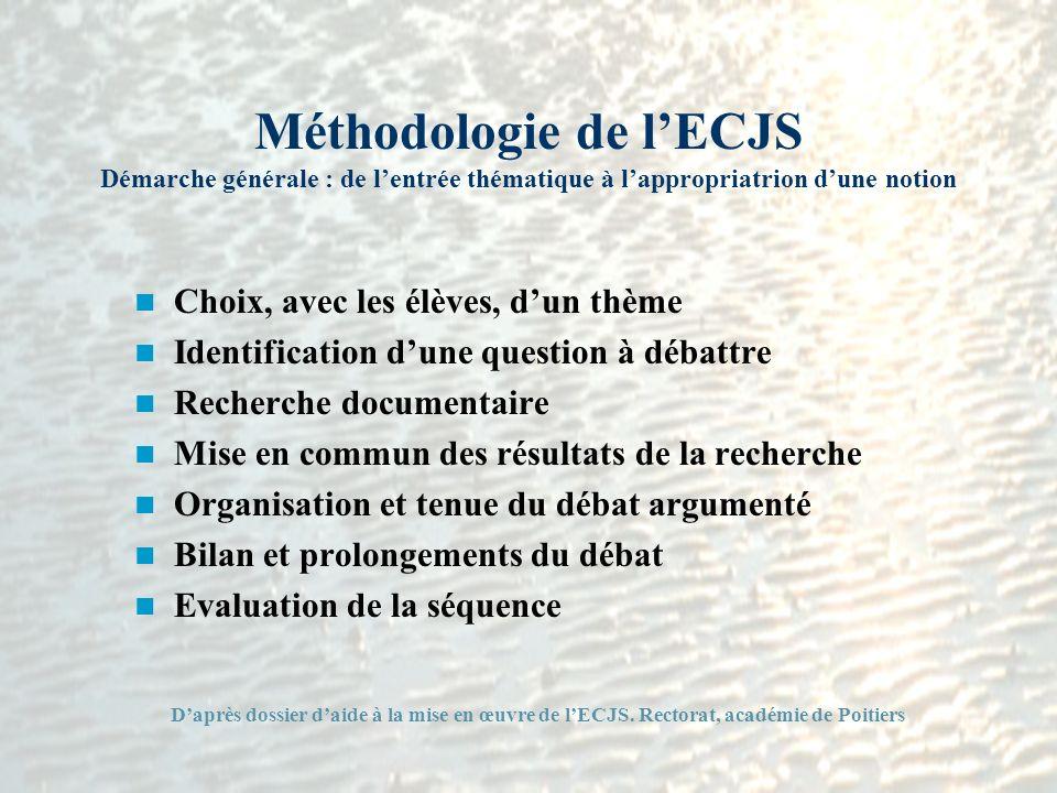 Méthodologie de l'ECJS Démarche générale : de l'entrée thématique à l'appropriatrion d'une notion