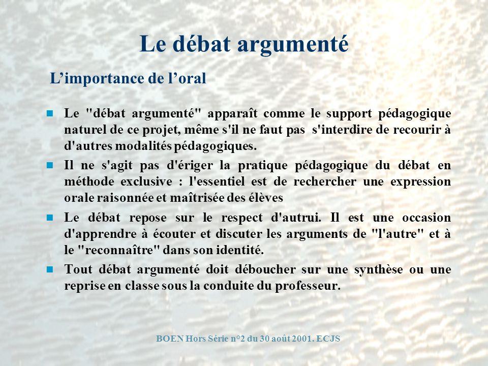 BOEN Hors Série n°2 du 30 août 2001. ECJS