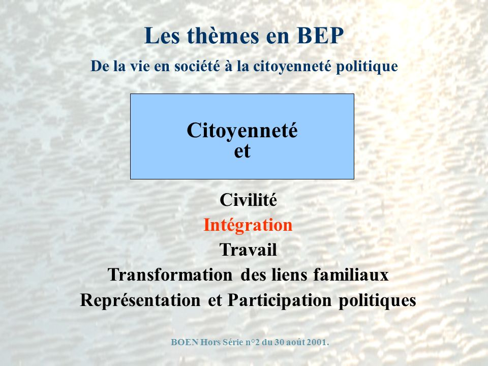 Les thèmes en BEP Citoyenneté et Civilité Intégration Travail
