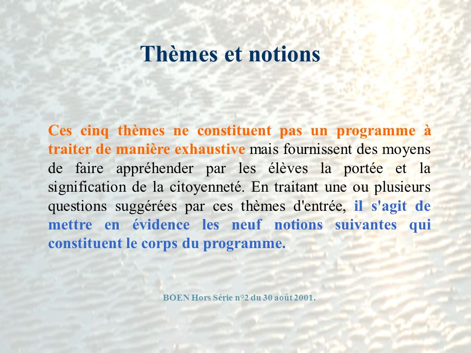 BOEN Hors Série n°2 du 30 août 2001.