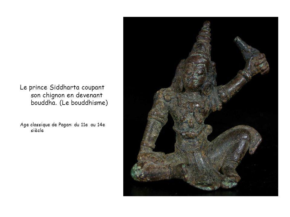 Le prince Siddharta coupant son chignon en devenant bouddha