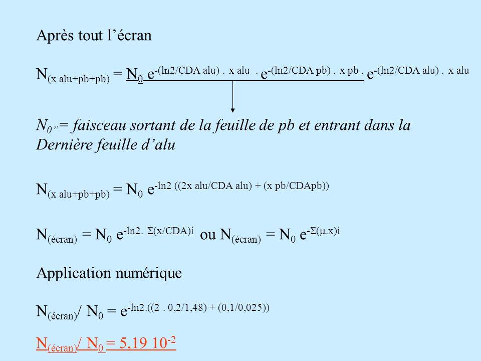 Après tout l'écran N(x alu+pb+pb) = N0 e-(ln2/CDA alu) . x alu . e-(ln2/CDA pb) . x pb . e-(ln2/CDA alu) . x alu.